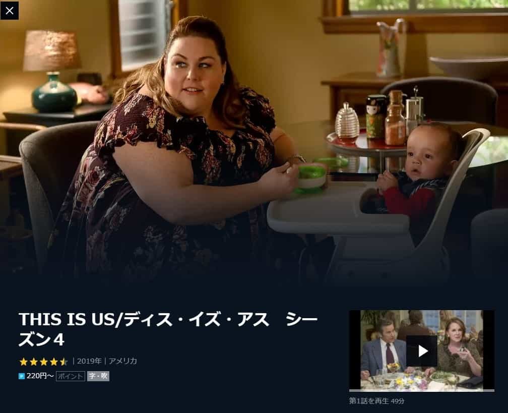 THIS IS US ディス イズ アス シーズン4 U-NEXTの画像